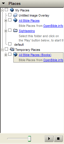 """All Bible Places (Books)"" appears in the ""Temporary Places"" folder."