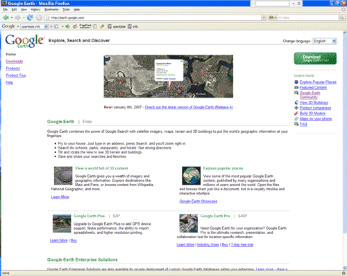 Google Earth homepage.