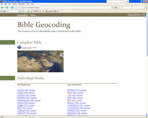 The Geocoding page on OpenBible.info