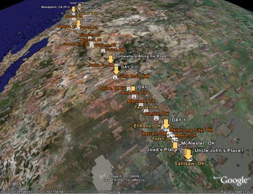 A Google Earth screenshot shows the Joads' trip.