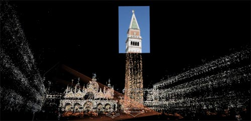 A 3D space showing a photograph of the tower with pointillistic representations of the rest of the piazza.