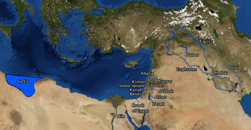 Satellite image showing most of the rivers and other water bodies mentioned in the Bible.