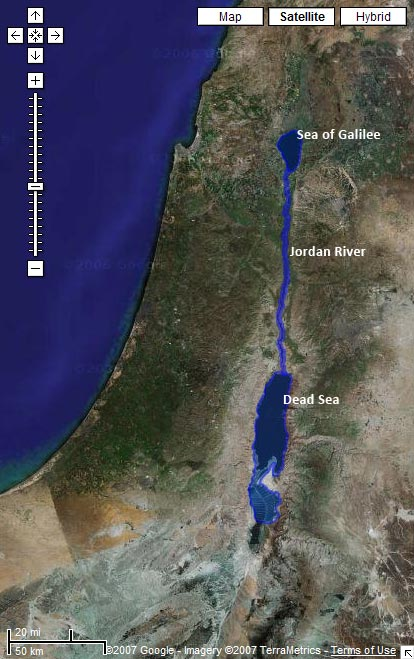 Satellite image from Google Maps with the Sea of Galilee, Jordan River, and Dead Sea highlighted
