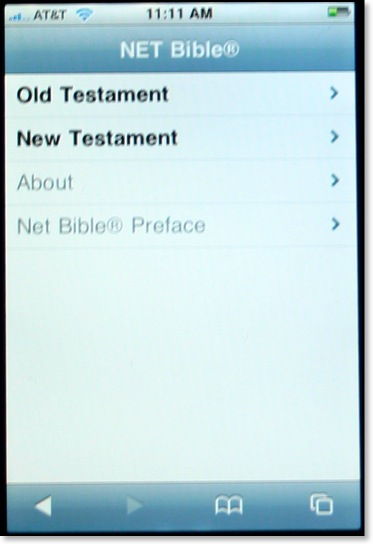The Old Testament and New Testament appear as options on the iPhone, with arrows indicating to tap to browse further in the hierarchy.