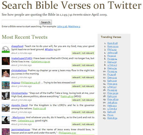 Search Bible verses on Twitter.