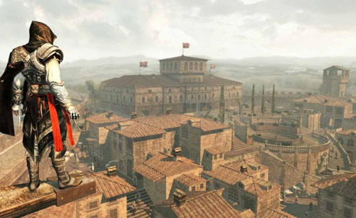 The main character in Assassin's Creed II surveys a detailed Renaissance urban landscape.