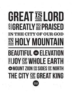 Psalm 48:1 uses striking, infographic-style type.