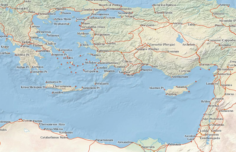 A view of the Mediterranean, including Roman cities and roads, from ORBIS.