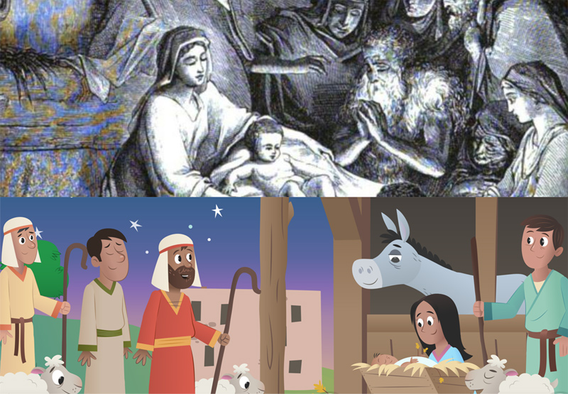 The Christmas story illustrated from 1880 and 2013. The bottom illustration is copyright Lifechurch.tv.