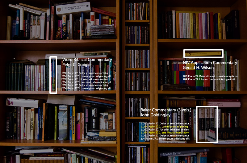 Bookshelves appear behind holographic text showing search results from three books on the shelves.