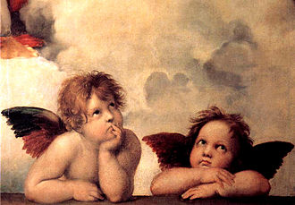 Detail of Raphael's Sistine Madonna showing two child-looking cherubs.