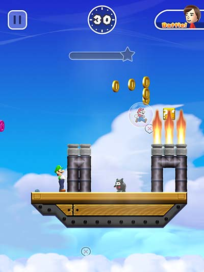 Mario jumps to his death in the flames.