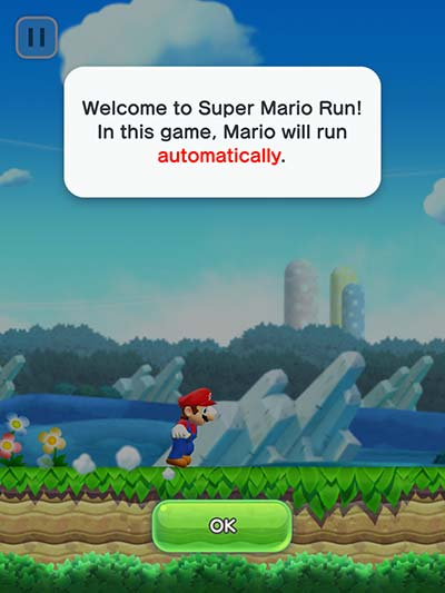 Mario runs automatically.