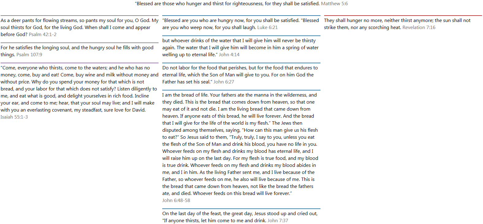 Matthew 5:5 with three columns of text.