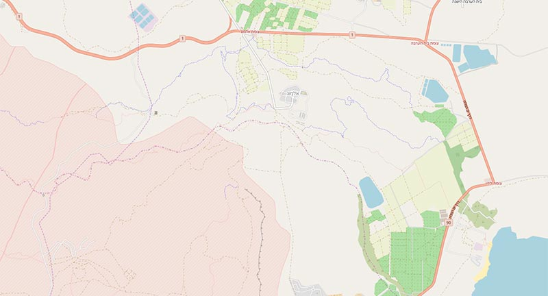 Data from OpenStreetMap shows roads, urban areas, farmland, etc.