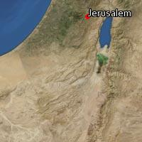 A custom satellite map of Jerusalem shows about two degrees of latitude and longitude as context. Jerusalem appears near the top of the map.