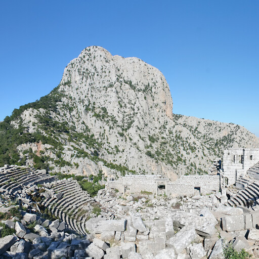 panorama of a mountain and ancient theater at Termessos in Pisidia