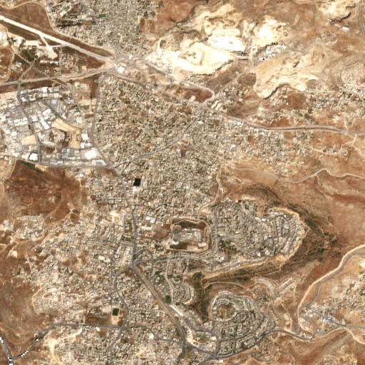 satellite view of the region around Khirbet Erha