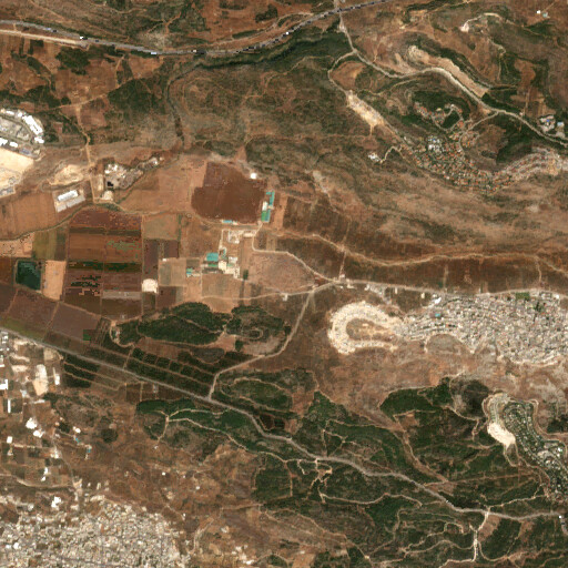 satellite view of the region around Khirbet Yanin
