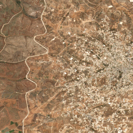 satellite view of the region around Khirbet er Ras