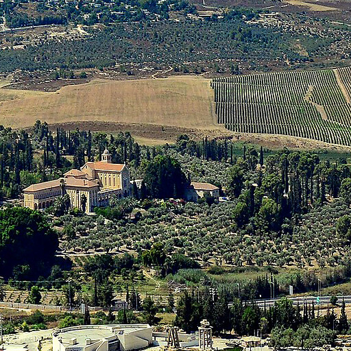 panorama of a region including Khirbet Hamideh, which is not visible beyond the Latrun monastery