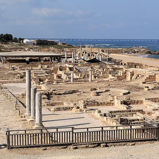 panorama of ruins at Caesarea Maritima