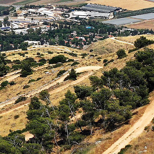 panorama including Khirbet Judeida, which is down the hill by the switchbacks
