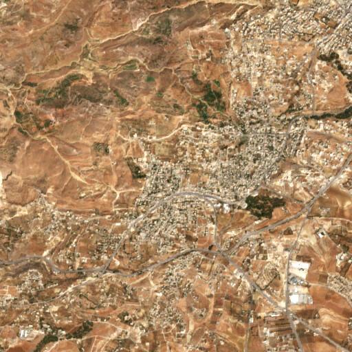 satellite view of the region around Khirbet el Qar'a