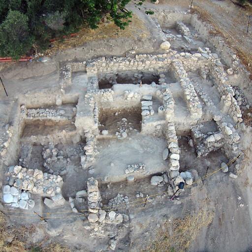 aerial panorama of ruins at Tel Abel Beth Maacah