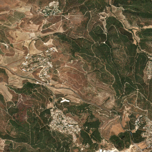 satellite view of the region around Khirbet Deir Shubeib