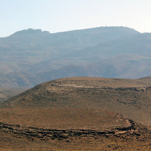 panorama looking east at mountains of Abarim