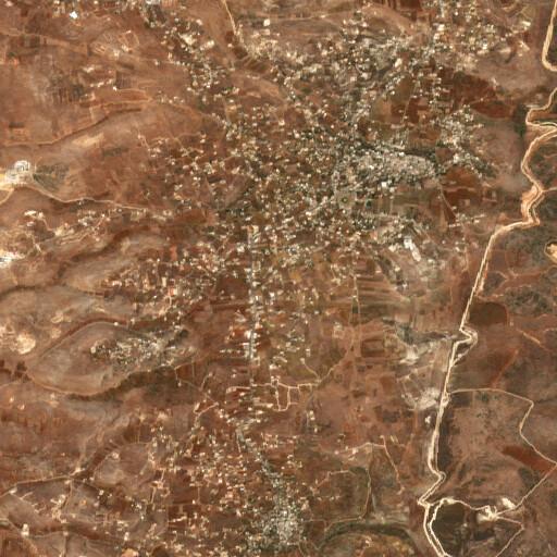 satellite view of the region around Khirbet el Mejdel