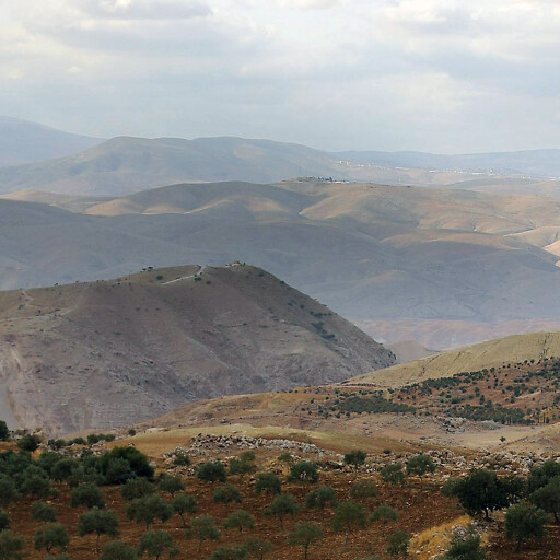 panorama looking west along the top of Wadi Ajlun, which runs between the hills in the foreground
