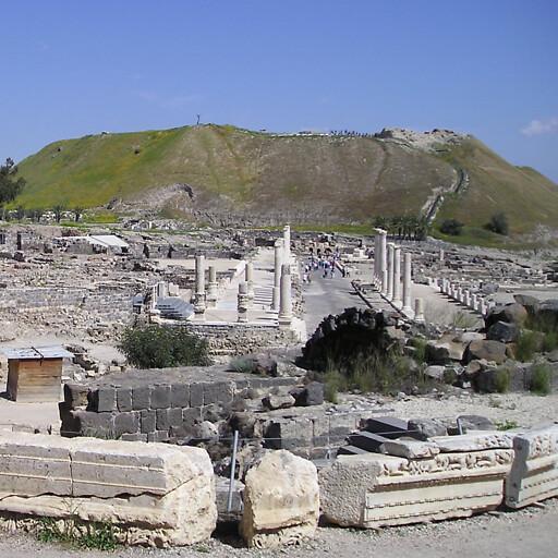 panorama of ruins at Tel Bet Shean
