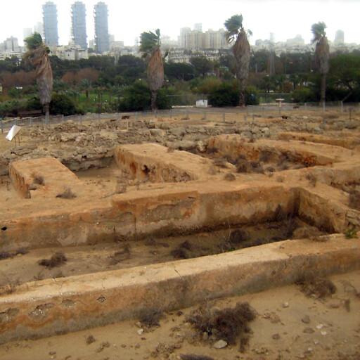 panorama of ruins at Tell Qasile