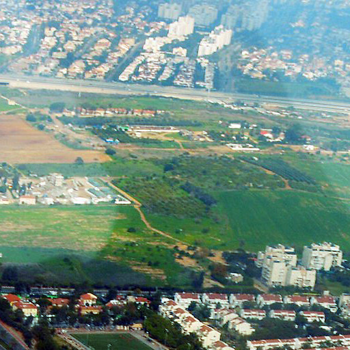 aerial panorama looking north of Ness Ziona including Sarafand el Kharab, which is beyond the road at the top