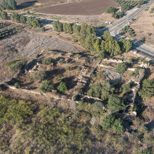 aerial panorama of ruins at Hanot Taggarim