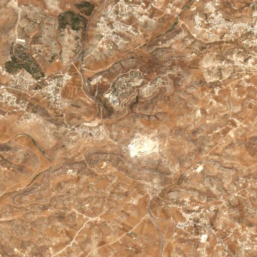 satellite view of the region around Khirbet er Rabiyeh