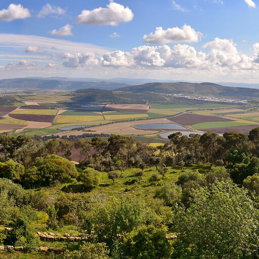 panorama of a region in Canaan from Mount Tabor