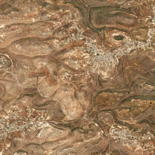 satellite view of the region around Khirbet esh Shuna