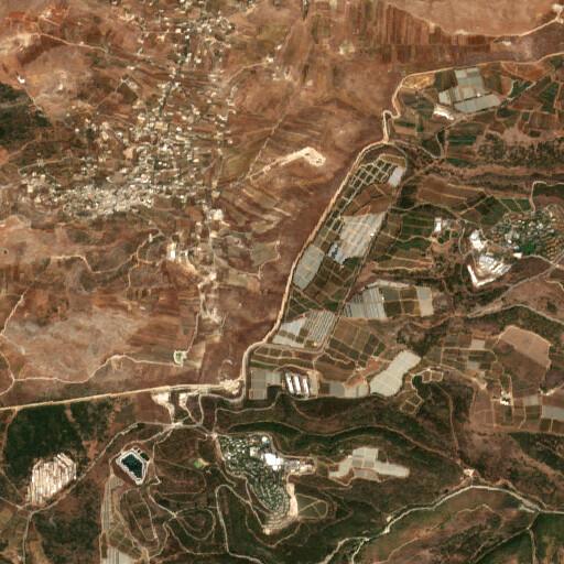 satellite view of the region around Ein el Khirba