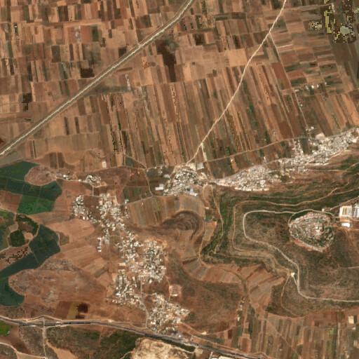 satellite view of the region around Kefr Anau