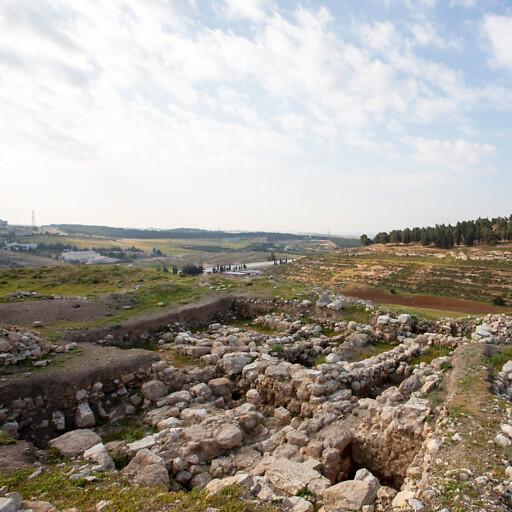 panorama of ruins at Tall al Umayri