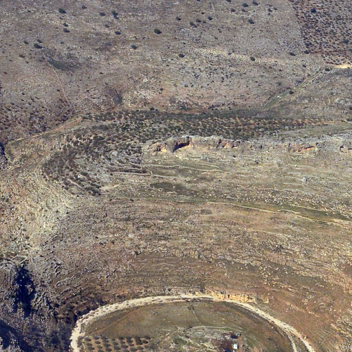 aerial panorama of Khirbet Banat Barr, which is at center