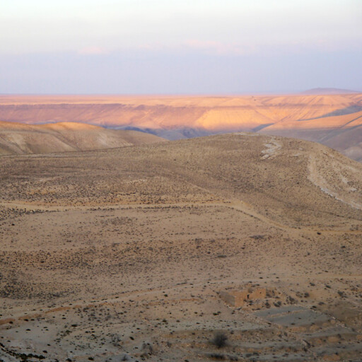 panorama of hills in the region between the Dead Sea and Petra