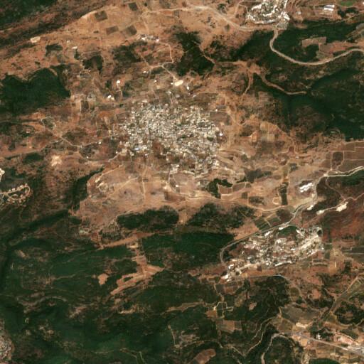 satellite view of the region around Horbat Hadran