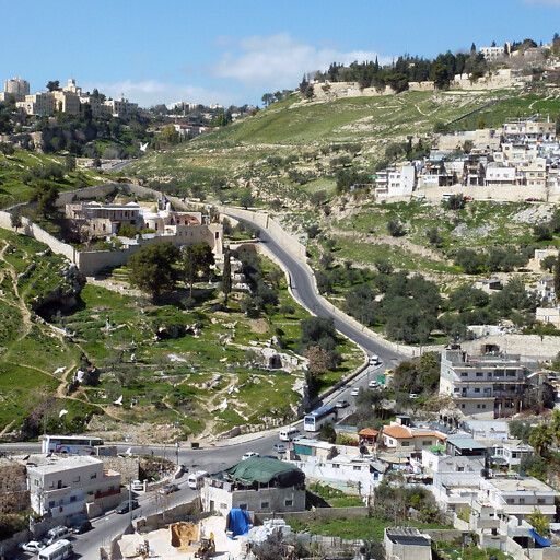 panorama of the intersection of the Kidron Valley and the Valley of Hinnom