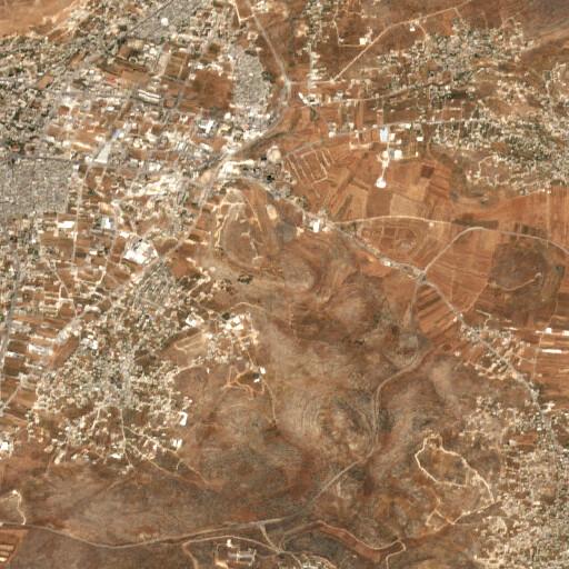 satellite view of the region around Khirbet Ibn Naser
