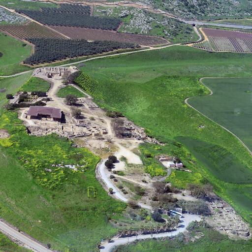 aerial panorama of ruins at Tel Hazor