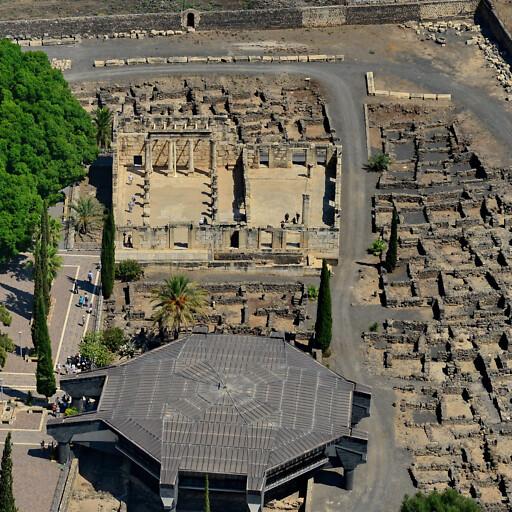 aerial panorama of ruins at Tell Hum